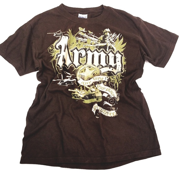 Gildan Other - Army Praphic T-Shirt Sze L Brown Graphic Camo Any